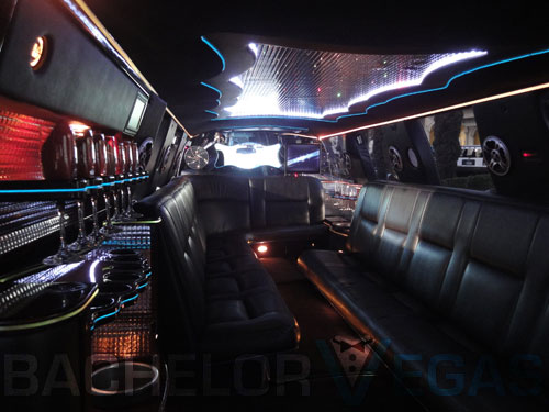 Las Vegas bachelor party SUV limo interior