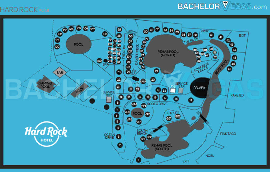 hard rock pool seating map